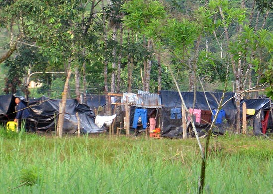 Land invastion tent city in Orito