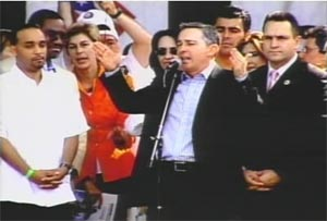 President Uribe speaking in Queens, New York, on July 22